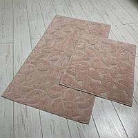 Набор ковриков  для ванной комнаты Листья 2. Турция, пудра