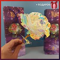 Декоративная Светящаяся роза 24к покрыта фольгой подарок девушке, маме