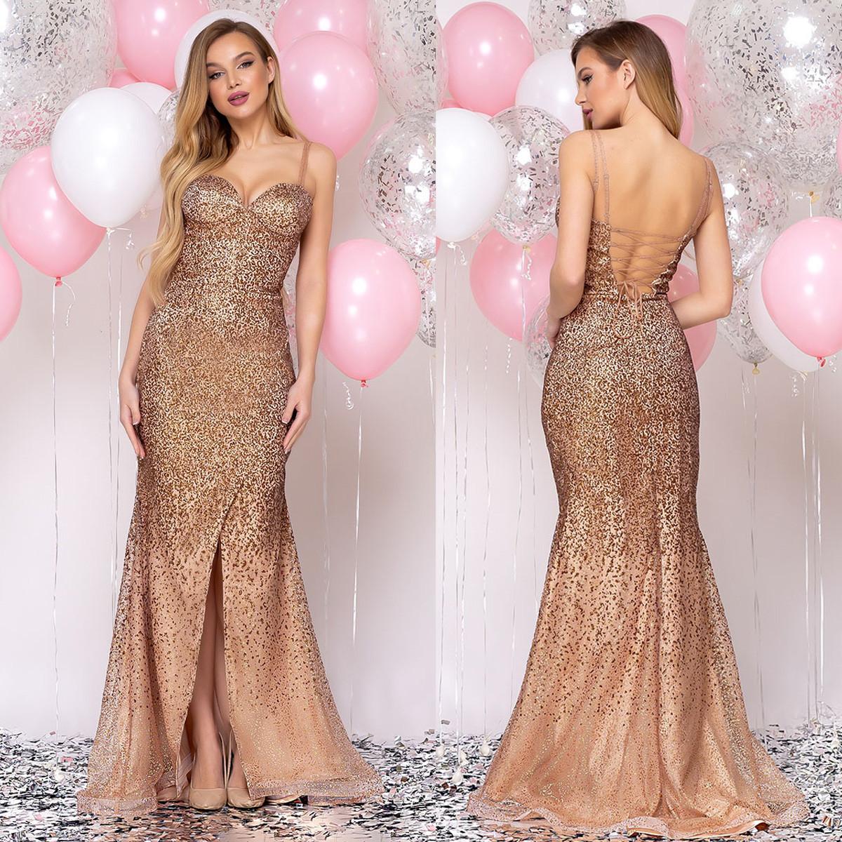 """Вечернее платье золото длинное со шлейфом сияющее """"Адриана"""""""