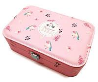 """Шкатулка """"Цветени"""" для украшений, кожзам, цвет розовый, 14,5-22,5-7 см"""