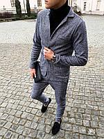 Классический костюм мужской кашемировый серый / ЛЮКС качества