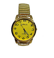 Часы кварцевые YaWeiSi Big  на  браслете резинка под золото