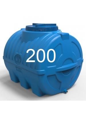 Бочка для воды пластиковая горизонтальная 200 литров синяя трехслойная.