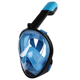 Маска для снорклинга подводного плаванья,ныряния под водой Amenitee (Размер L / XL) Голубой
