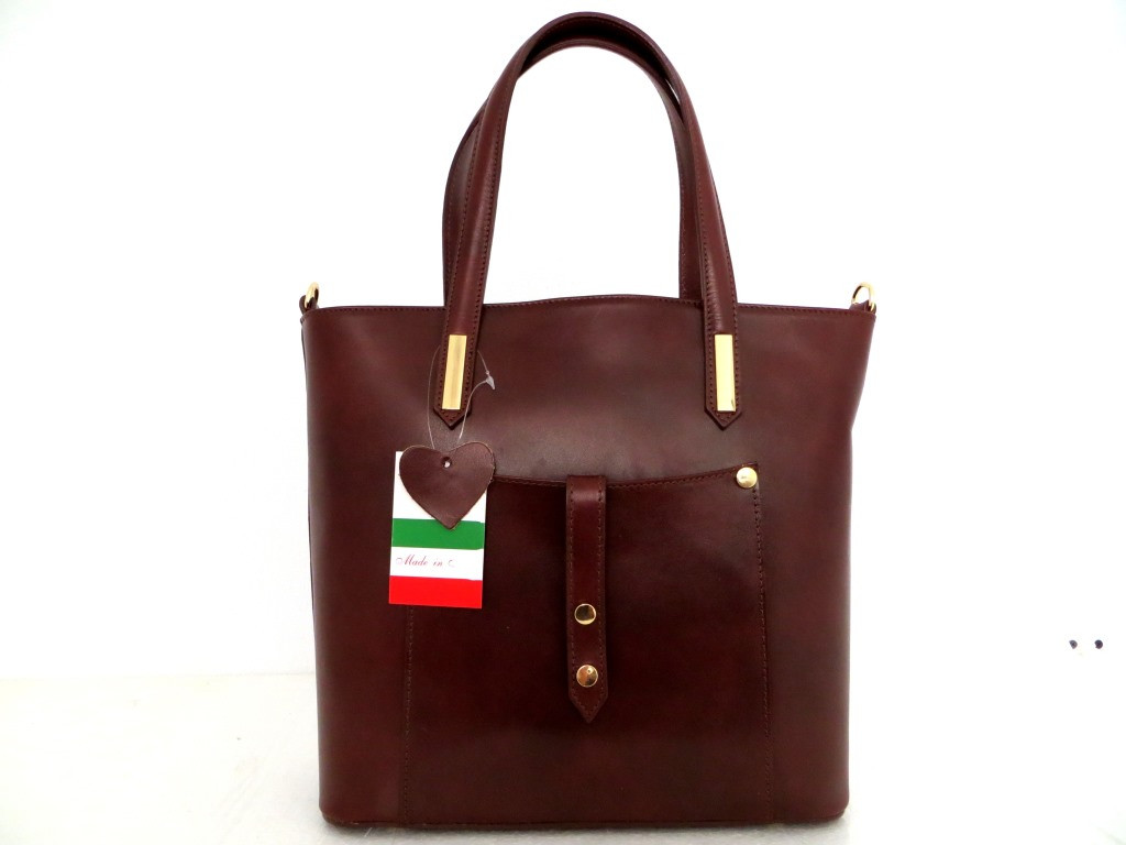 Удобная женская сумка 100% натуральная кожа. Италия. Коричневый.