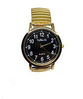 Часы кварцевые YaWeiSi Big на  браслете резинка под золото черный