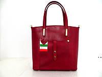 Удобная женская сумка 100% натуральная кожа. Италия. Красный.