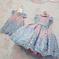 Нарядное детское платье на девочку с бантом  розовое с голубым 4-7 лет