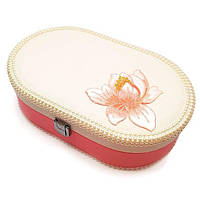 """Шкатулка """"Цветок"""" для украшений, кожзам, цвет розовый, 23-14-7 см"""