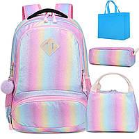 Школьный рюкзак Радужный с ланчбоксом и пеналом Rainbow Glitter Backpack
