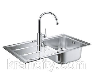Набор кухонная мойка K400 + смеситель Concetto 32663001 Grohe EX Sink 31570SD0