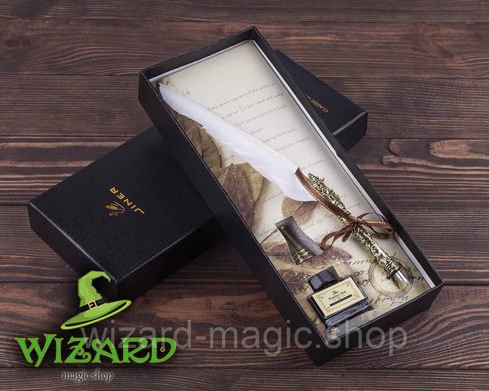 Подарочный набор Ручка-перо белая с чернильницей