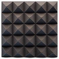 Панель из акустического поролона Ecosound пирамида Pyramid Velvet Black 250х250х25мм цвет черный графит, фото 1