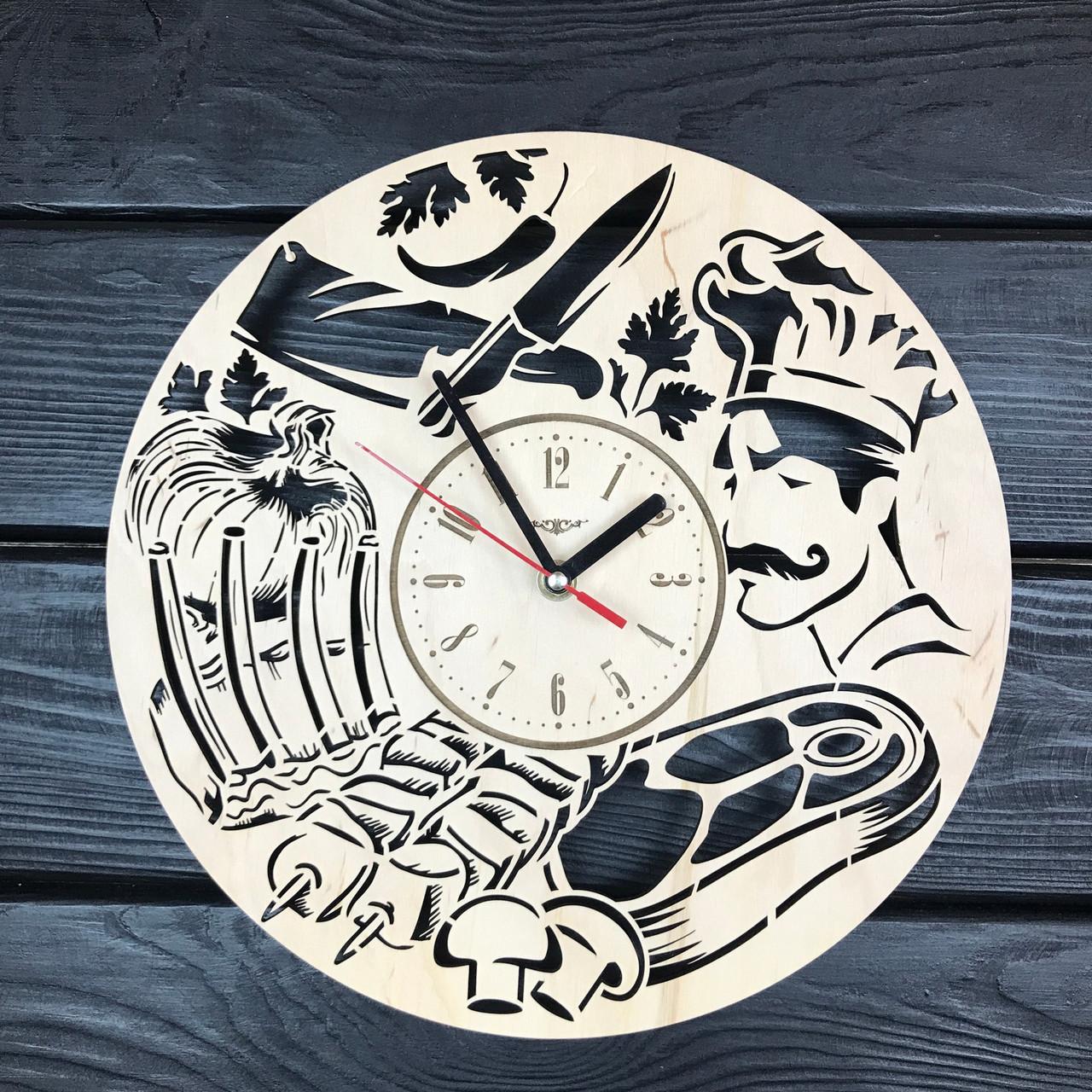 Концептуальные деревянные часы на стену «Шеф-повар»