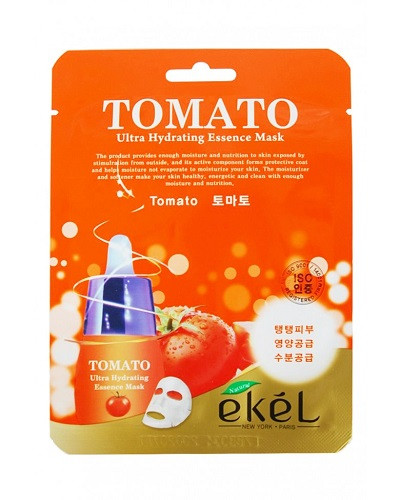 Корейская тканевая маска с экстрактом томата Ekel Tomato Ultra Hydrating Mask