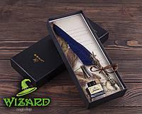 Подарочный набор Ручка-перо синяя с чернильницей