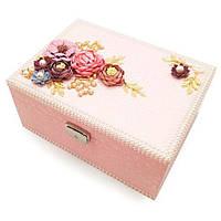 """Шкатулка """"Роскошь"""" для украшений, кожзам, цвет розовый, 17-22-10 см"""
