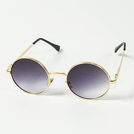 Оптом круглые солнцезащитные очки (арт. 80-668/1) фиолетово-серый