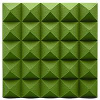 Панель з акустичного поролону Ecosound піраміда Pyramid Green Velvet 250х250х25мм колір зелений, фото 1