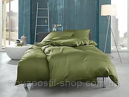 Однотонное постельное белье из сатина Moss Green