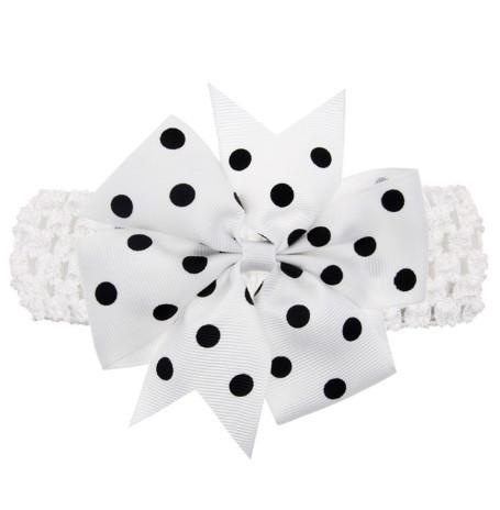Дитяча біла пов'язка з бантом в горох - розмір універсальний (на резинці), бант 8см