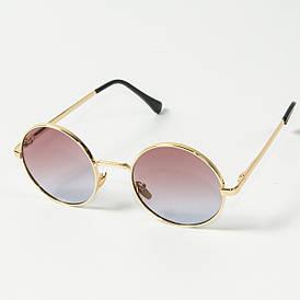 Оптом круглые солнцезащитные очки (арт. 80-668/2) розово-голубой