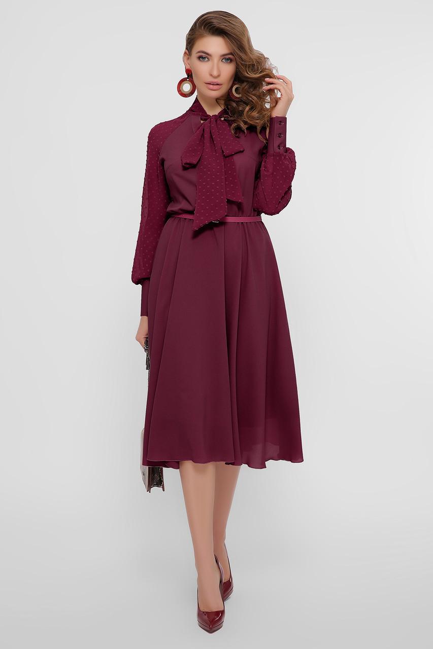 Женское бордовое платье из шифона Аля д/р