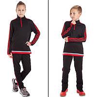 Костюм для тренировок по футболу детский LD2001T-BR  (полиэстер, р-р 26-32, черный-красный ) КодLD2001T-R