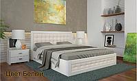 Деревянная кровать в белом цвете бук Рената Д 160х190/200 см ТМ Arbor Drev с подъемным механизмом