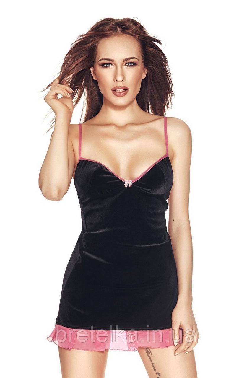 Сорочка облегающая черная стринги в комплекте Anais Rackel