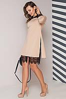 Трикотажное платье-двойка (рубашка и платье ) а-силуэта, цвет: бежевый, серый размер: 42, 44, 46, 48