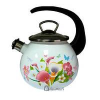 Чайник зі свистком 2,5 л Романтичний букет Gusto GT-U-225-KF (95555)