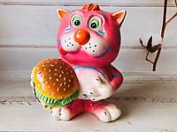 Копилка: кот с гамбургером h 25 cм