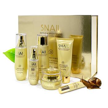 Подарочный набор по уходу за лицом BIOAQUA Snail Repair&Brightening с муцином улитки подтяжка лица Оригинал