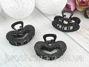 Крабы для волос металл 4.5 см черные 4 шт/уп.