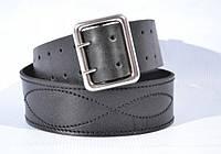 Ремень портупейный  мужской кожаный черный 115 см