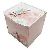 """Шкатулка  детская """"Зайка"""" розовый, деревянная Размер: 11-11-11 см."""