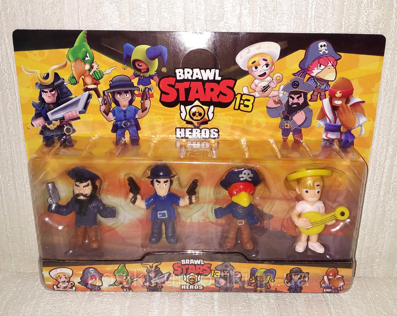 Набір фігурок Бравл Старс (4 шт) герої Brawl Stars, 1 набір