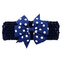 Детская синяя повязка с бантом в горох - размер универсальный (на резинке), бант 8см