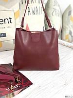 Бордовая женская сумка на плечо среднего размера городская шоппер экокожа