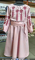 """Вышитое платье для девочки """"Розовые мечты""""  длинный рукав 116 - 152 р"""