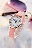 Часы женские Kasigi наручные кварцевые с розовым эко-кожаным ремешком и белым циферблатом