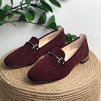 Женские туфли лоферы из натуральной замши бордового цвета Возможен отшив в других цветах кожи и замши