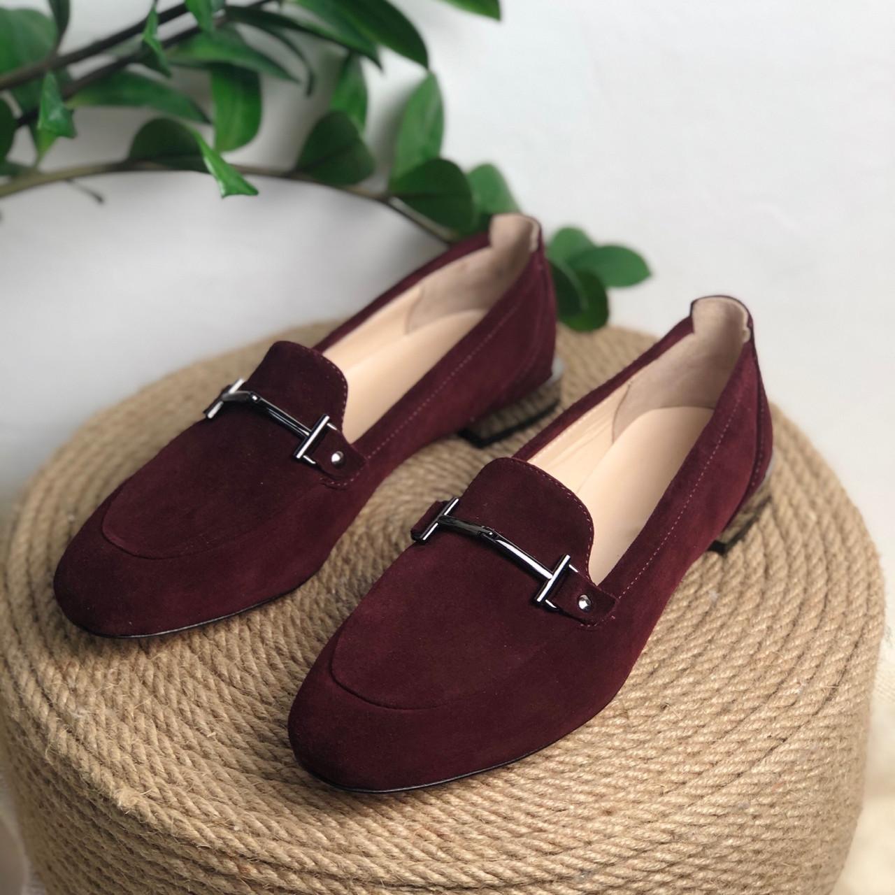 Жіночі туфлі лофери з натуральної замші бордового кольору Можливий відшиваючи у інших кольорах шкіри і замші
