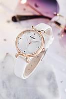 Часы женские Kasigi наручные кварцевые с белым эко-кожаным ремешком и белым циферблатом