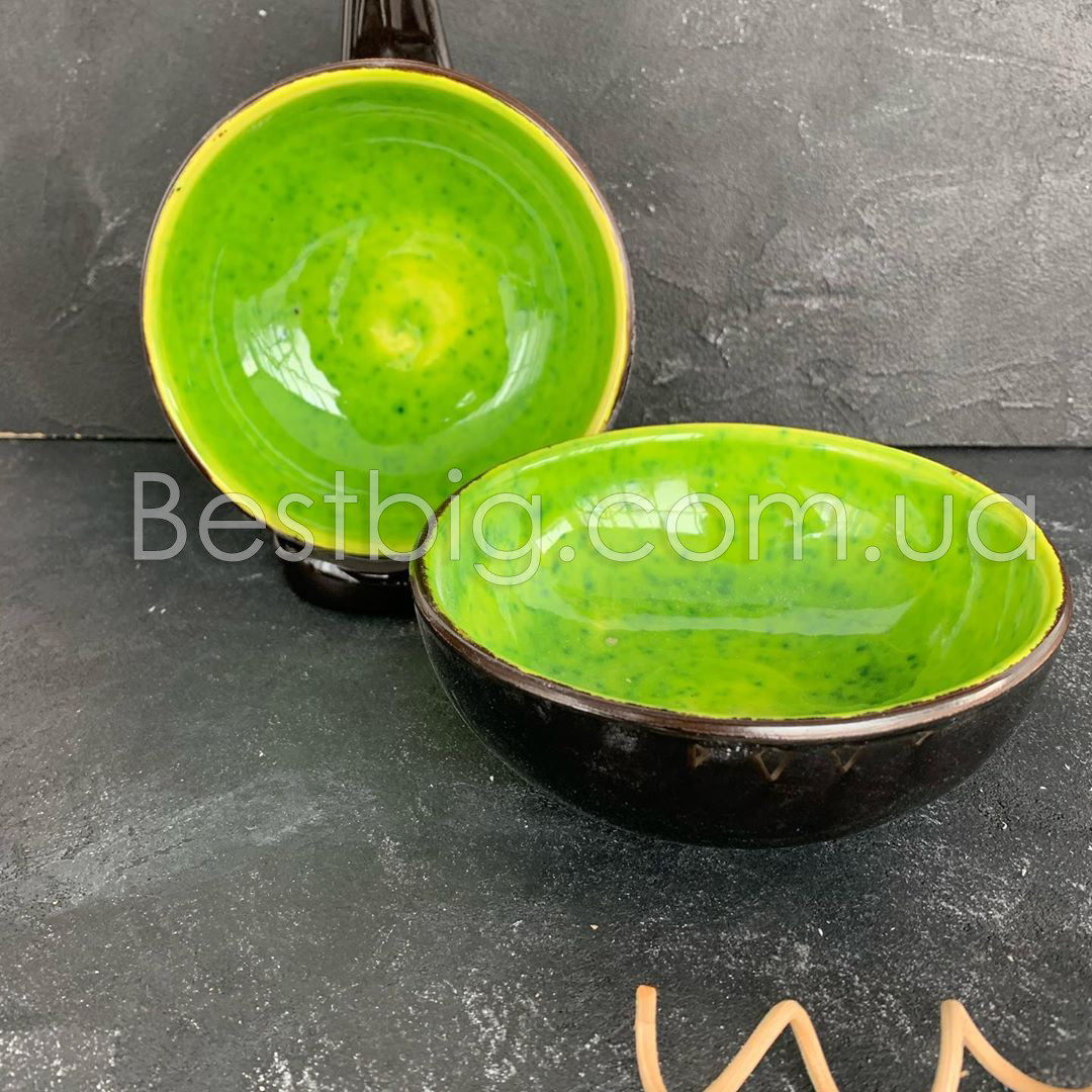 Салатник на ножке - 300 мл, 12 см, Лайм (Manna Ceramics)