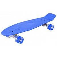 Скейт пенни борд best board 56 см с подсветкой колес (Синий)