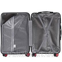 Большой чемодан из поликарбоната премиум серии W-565 на 4х двойных колесах с ТСА замком темно-синий, фото 3