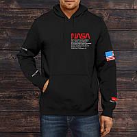 Худи мужское толстовка свитшот с капюшоном весенний осенний черный NASA