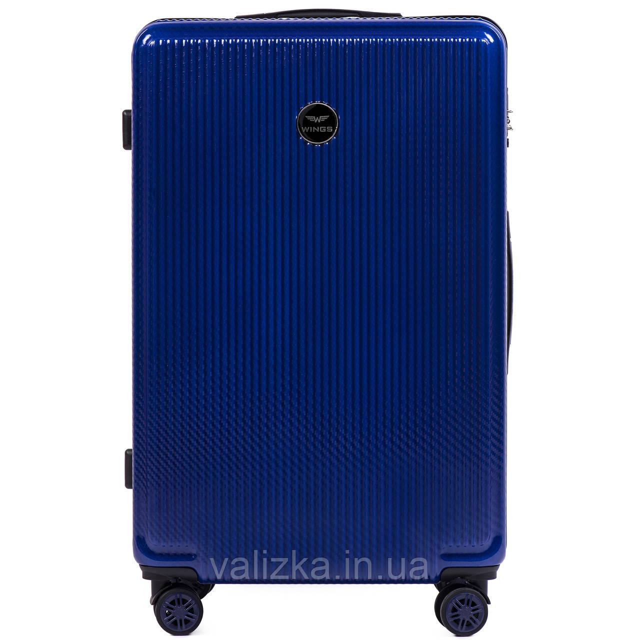 Большой чемодан из поликарбоната премиум серии W-565 на 4х двойных колесах с ТСА замком темно-синий